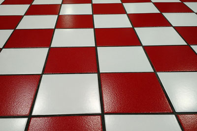 red and white tiles on floor